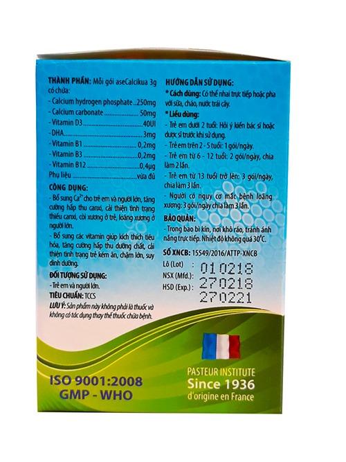 Canxi dạng cốm Ase Calcikua bé cao khỏe trẻ thông minh bổ sung vitamin d3