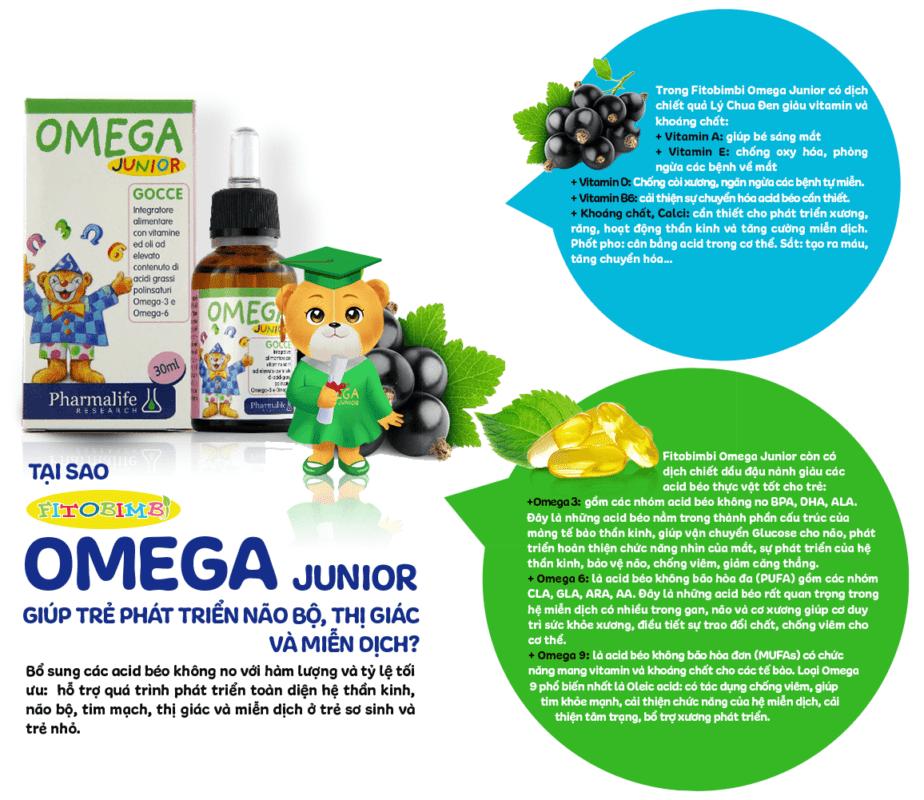 Fitobimbi Omega Junior giúp trẻ phát triển trí tuệ thông minh sáng mắt thành phần thảo dược