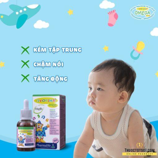Fitobimbi Omega Junior hỗ trợ điều trị trẻ kém tập trung tăng động chậm nói