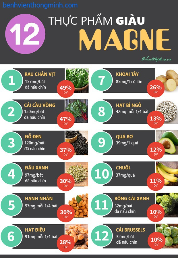 12 thực phẩm giàu magnesi thuoctotso1.com