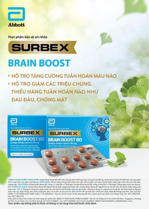 Surbex Brain Boost hỗ trợ tăng cường tuần hoàn máu não Abbott