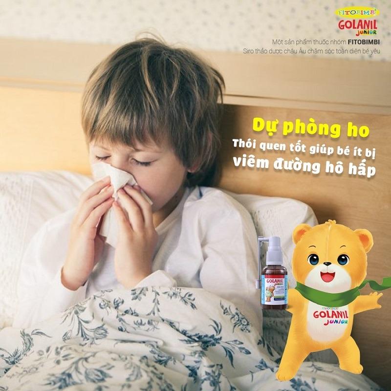xịt họng trẻ em Golanil Junior hết ho hết viêm họng ít bị viêm đường hô hấp