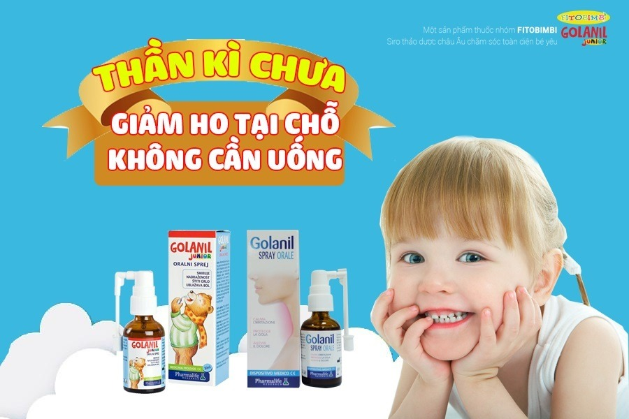 xịt họng trẻ em Golanil Junior hết ho hết viêm họng sản phẩm cao cấp