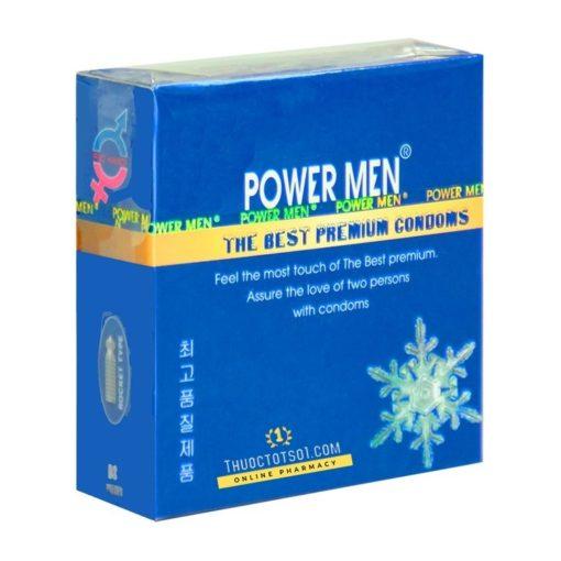 bao cao su Power Men Frozen bạc hà mát lạnh 3 chiếc