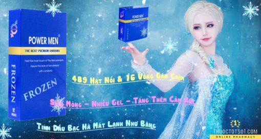 bao cao su Power Men Frozen bạc hà mát lạnh sản phẩm cao cấp