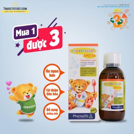 Fitobimbi Appetito siro trị biếng ăn cho trẻ 3 tác động toàn diện mua 1 được 3