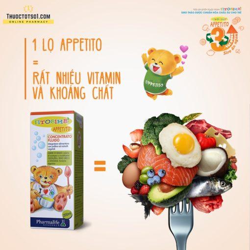 Fitobimbi Appetito siro trị biếng ăn cho trẻ 3 tác động toàn diện vitamin khoáng chất