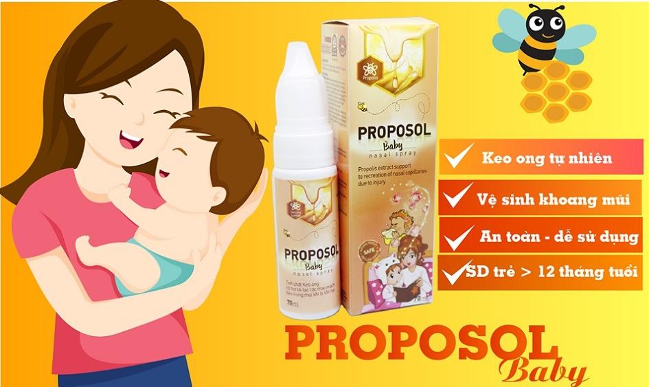 Xịt mũi keo ong Proposol baby tái tạo niêm mạc mũi an toàn hiệu quả