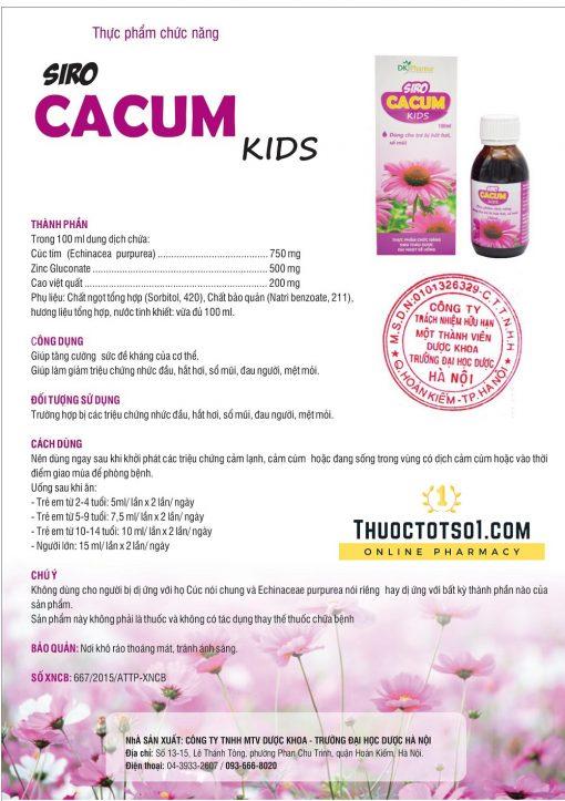 siro cảm cúm trẻ em Cacum Kids thực phẩm chức năng