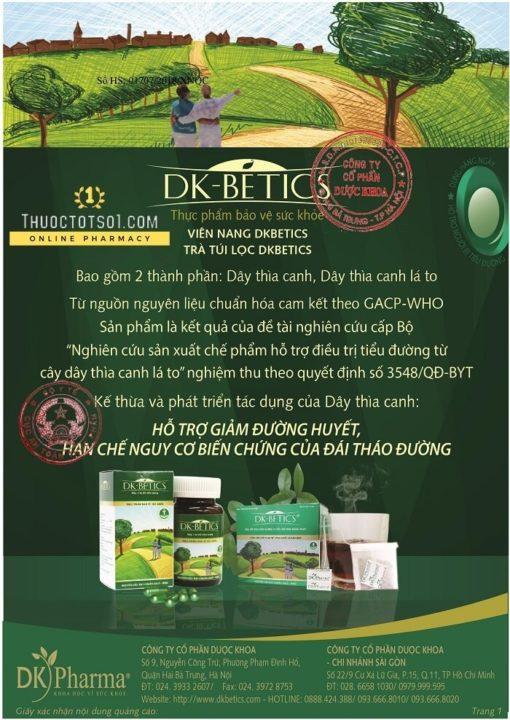 viên thìa canh DK Betics thảo dược hạ đường huyết trong ngưỡng an toàn ngăn ngừa biến chứng