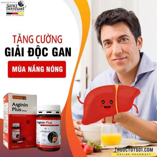 Arginin Plus 500mg hỗ trợ chức năng gan nhập khẩu Đức giải độc gan