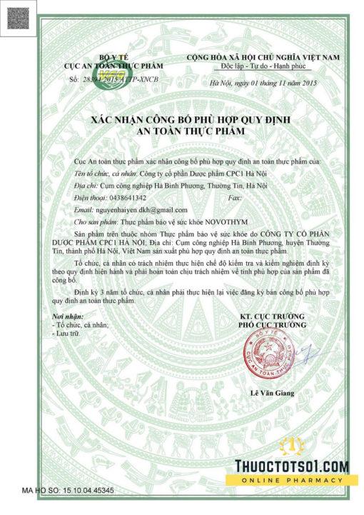Novothym siro thảo dược châu âu chống viêm đường hô hấp giấy phép lưu hành
