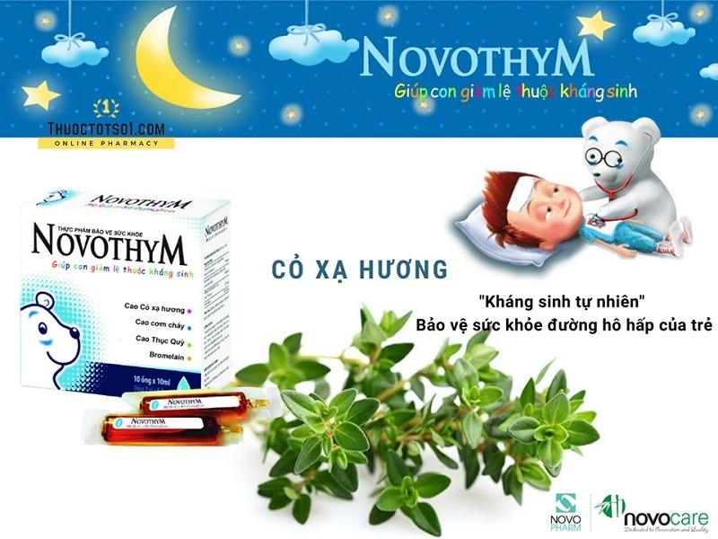 Novothym siro thảo dược châu âu chống viêm đường hô hấp thành phần cỏ xạ hương