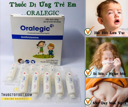 thuốc dị ứng trẻ em Oralegic vị sữa dừa thơm điều trị hiệu quả