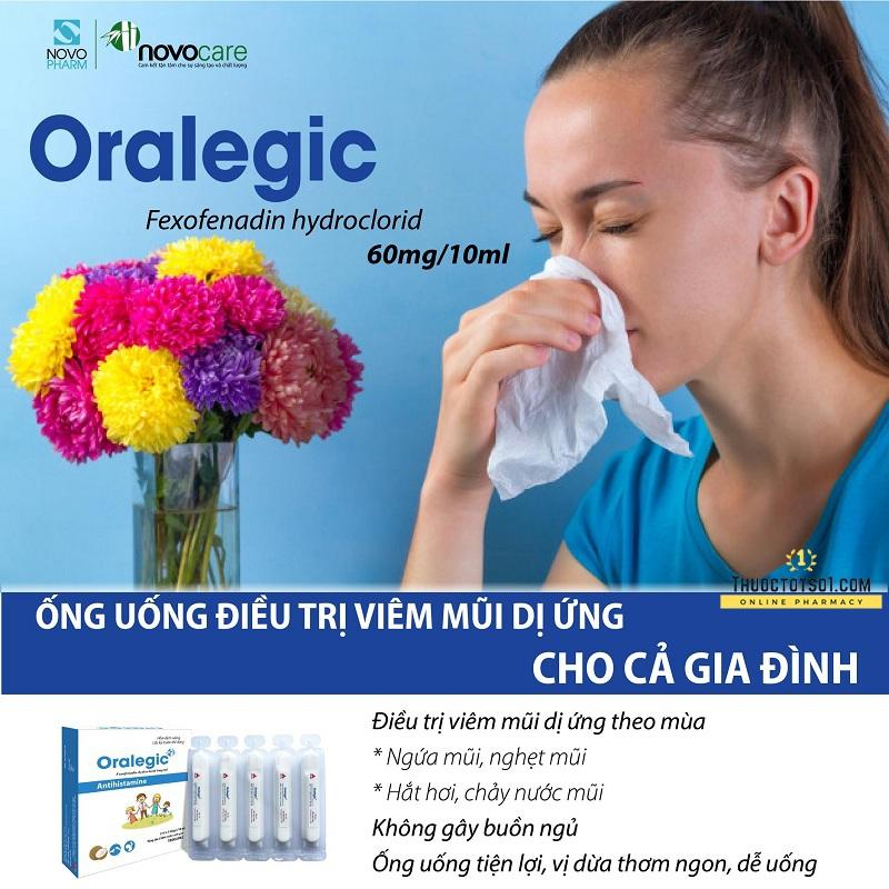 thuốc dị ứng trẻ em Oralegic vị sữa dừa thơm điều trị viêm mũi dị ừng cho cả gia đình