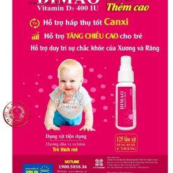 vitamin D3 dạng xịt Dimao cho trẻ thêm cao Bộ Y tế xác nhận