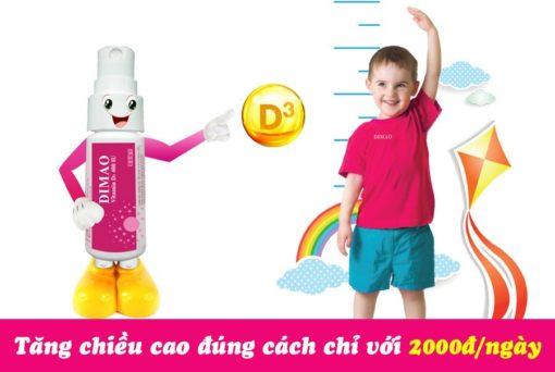 vitamin D3 dạng xịt Dimao cho trẻ thêm cao chỉ với 2000 mỗi ngày