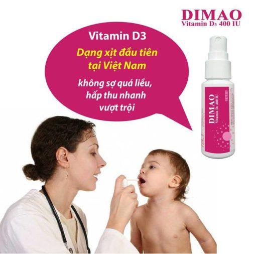 vitamin D3 dạng xịt Dimao cho trẻ thêm cao dạng xịt đầu tiên tại Việt Nam