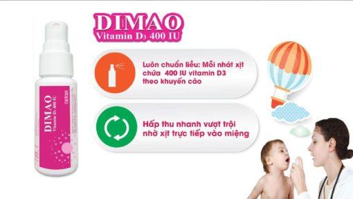 vitamin D3 dạng xịt Dimao cho trẻ thêm cao hấp thu nhanh vượt trội
