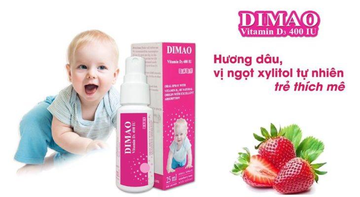 vitamin D3 dạng xịt Dimao cho trẻ thêm cao hương dâu vị ngọt xylitol