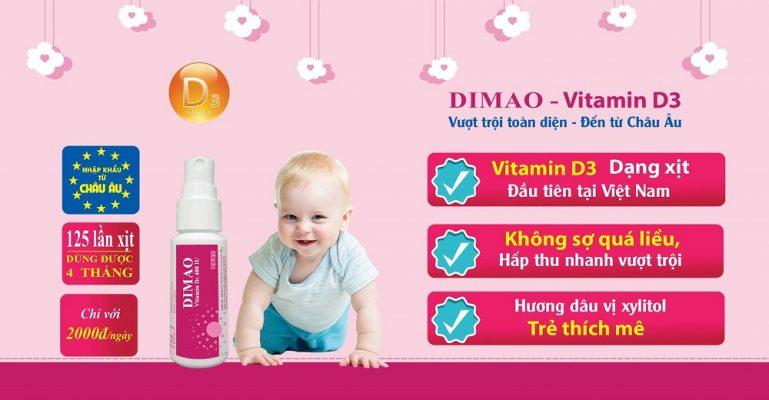 vitamin D3 dạng xịt Dimao cho trẻ thêm cao nhập khẩu Châu Âu