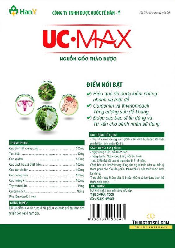 UC Max khắc tinh u tử cung u tiền liệt tuyến chính hãng