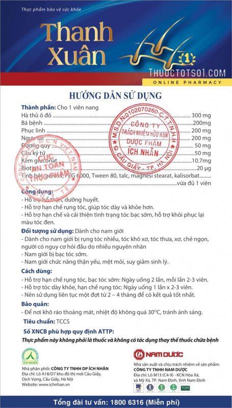 viên uống chống rụng tóc nam Thanh Xuân Nam Dược attp