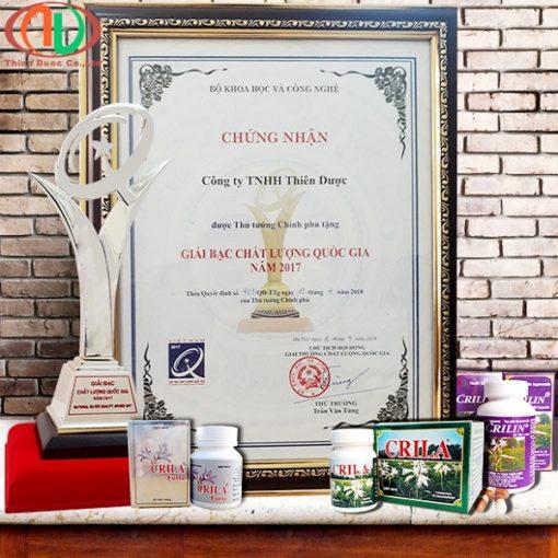 thuốc Crila Forte điều trị tuyến tiền liệt và u xơ tử cung giải bạc chất lượng quốc gia