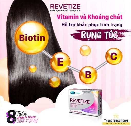 viên uống giảm rụng tóc Revetize kích thích mọc tóc giúp tóc chắc khỏe vitamin