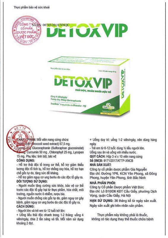 viên thải độc tế bào Detoxvip giảm nguy cơ u bướu Cục ATTP xác nhận