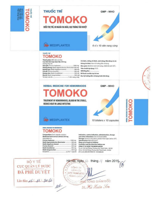 thuốc trĩ Tomoko điều trị trĩ táo bón đi ngoài ra máu Bộ Y tế xác nhận