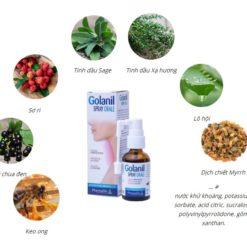 xịt họng Golanil Spray sạch họng giảm ho hết viêm họng thành phần thảo dược