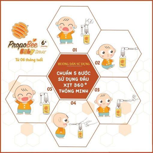 xịt họng keo ong Propobee Baby giúp bé hết ho khỏi viêm họng 5 bước sử dụng