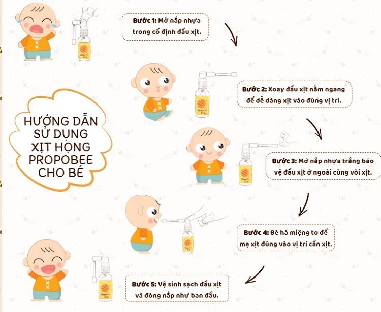 xịt họng keo ong Propobee Baby giúp bé hết ho khỏi viêm họng hướng dẫn sử dụng