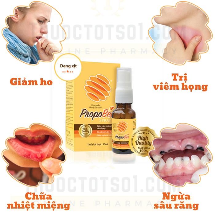 xịt họng keo ong Propobee spray hết viêm họng giảm ho nhanh chóng nhiều công dụng