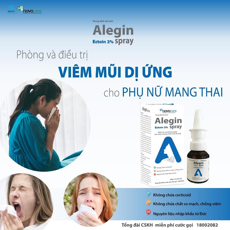 xịt viêm mũi dị ứng Alegin an toàn cho trẻ nhỏ phụ nữ có thai nguyên liệu nhập khẩu Đức