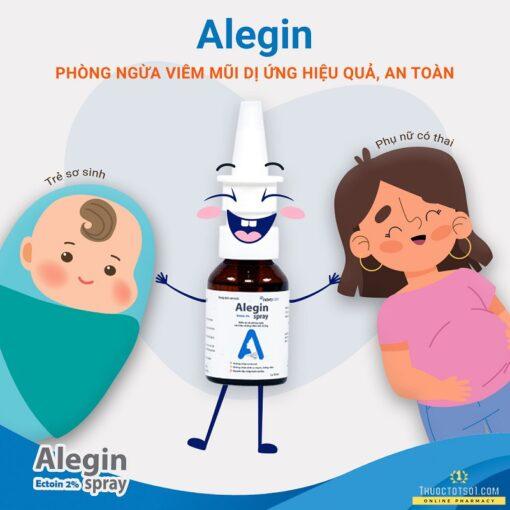 xịt viêm mũi dị ứng Alegin an toàn cho trẻ nhỏ phụ nữ có thai trẻ sơ sinh