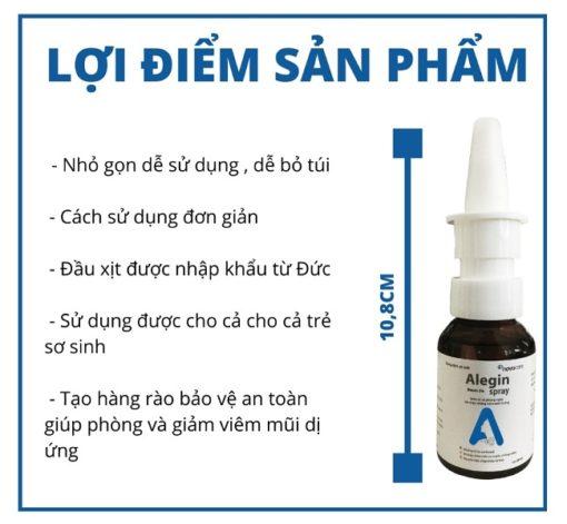 xịt viêm mũi dị ứng Alegin an toàn cho trẻ nhỏ phụ nữ có thai ưu điểm nổi bật