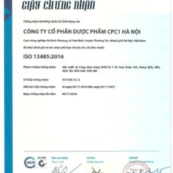 giấy chứng nhận công ty dược phẩm CPC1HN đạt chuẩn ISO hệ thống quản lý chất lượng thuoctotso1