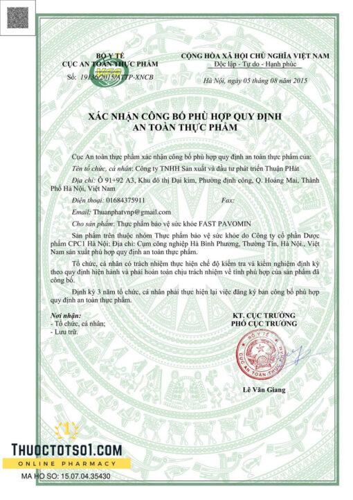 Fast Pavomin giảm ốm nghén chán ăn buồn nôn cho mẹ bầu giấy phép lưu hành