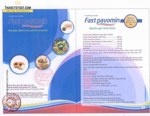 Fast Pavomin giảm ốm nghén chán ăn buồn nôn cho mẹ bầu xác nhận Cục An Toàn Thưc Phẩm