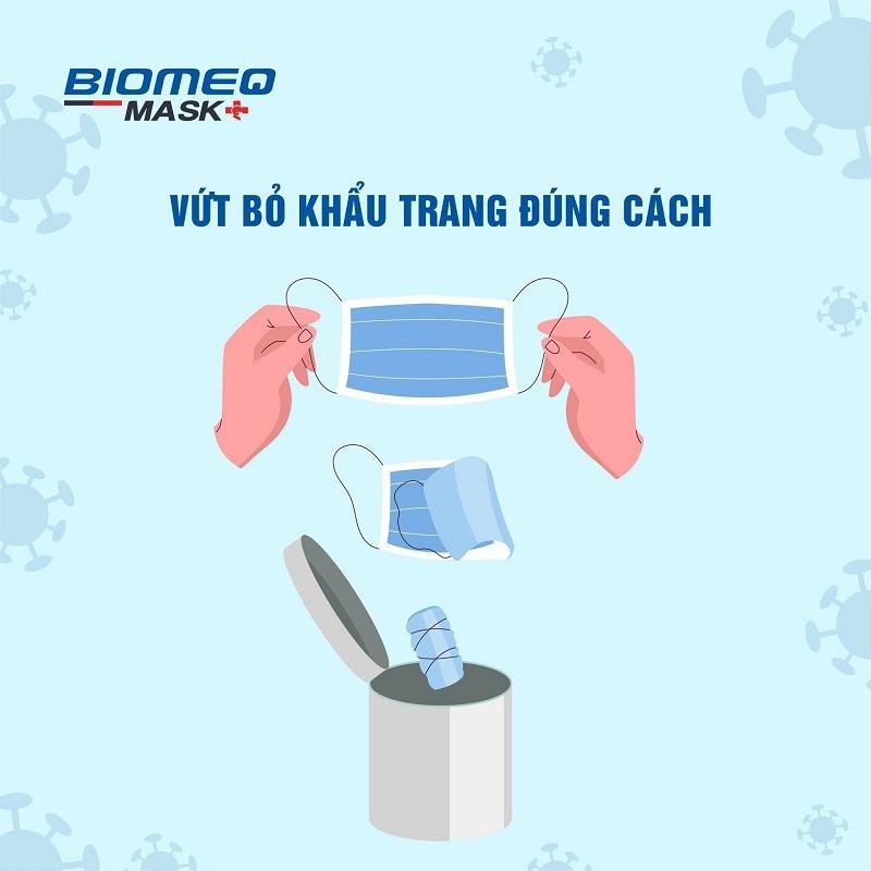 khẩu trang y tế Biomeq Mask kháng khuẩn vượt chuẩn cách bỏ đúng cách