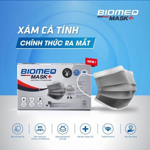khẩu trang y tế Biomeq Mask kháng khuẩn vượt chuẩn màu xám cá tính