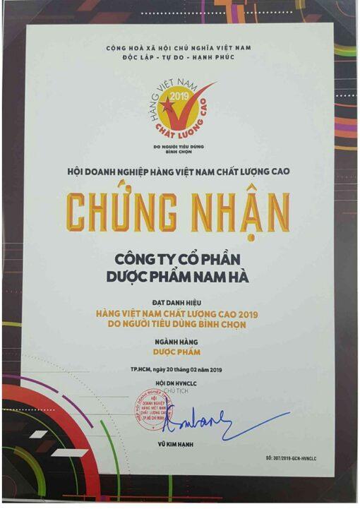 Nam Hà Pharma chứng nhận hàng Việt Nam chất lượng cao thuoctotso1