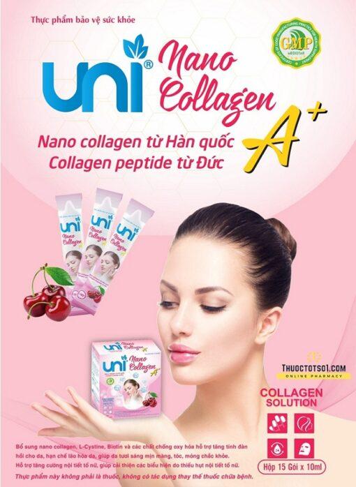 Uni Nano Collagen giúp đẹp da tăng cường nội tiết tố nữ dạng nước uống