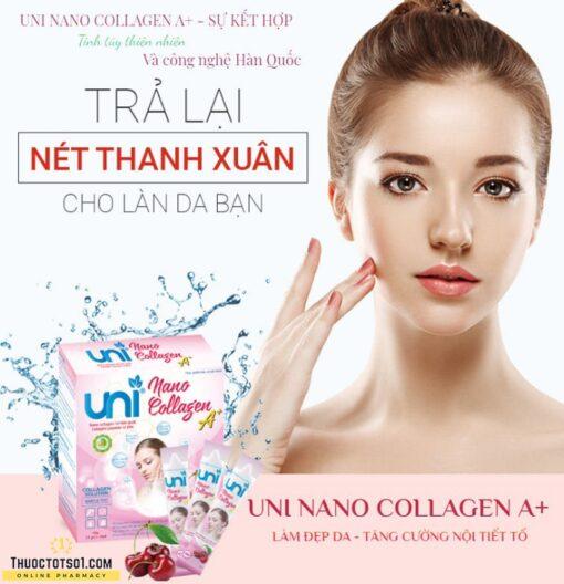 Uni Nano Collagen giúp đẹp da tăng cường nội tiết tố nữ nguyên liệu Hàn Quốc