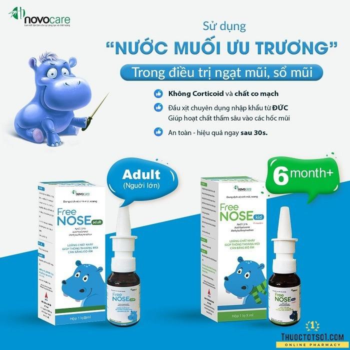 xịt thông mũi Freenose Kid giúp loãng chất nhầy thông thoáng mũi cho bé an toàn hiệu quả