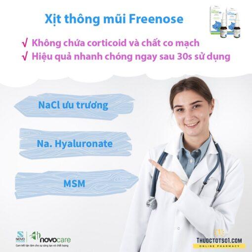 xịt thông mũi Freenose Kid giúp loãng chất nhầy thông thoáng mũi cho bé công thức đặc biệt