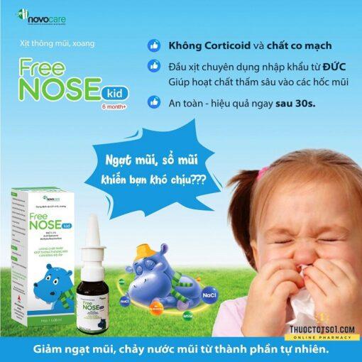 xịt thông mũi Freenose Kid giúp loãng chất nhầy thông thoáng mũi cho bé thuoctotso1