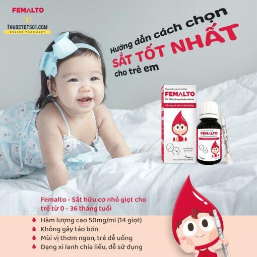 sắt nguyên tố Femalto sắt hữu cơ nhỏ giọt hàm lượng cao cho người lớn và trẻ em tốt nhất